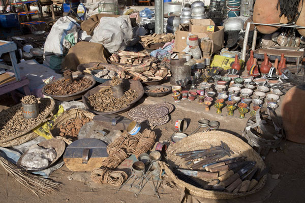 Picture of A wide range of products sold in one of the many stores at a market in Kassala