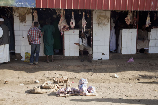 Part of the meat market of Kassala | Marchés de Kassala | Soudan