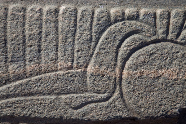 Detail of a decoration on a stone found in the eastern deffufa | Deffufas of Kerma | Sudan