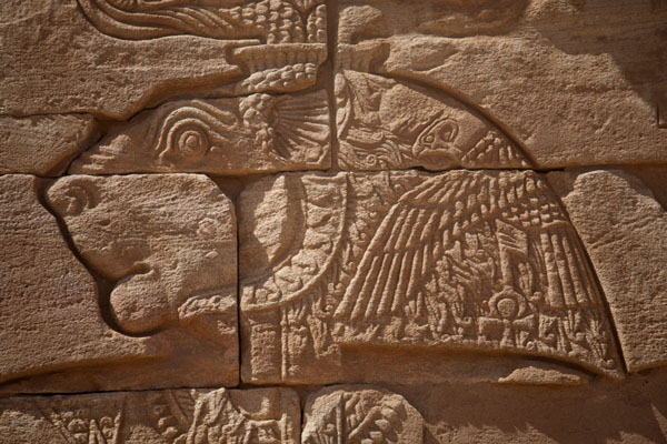 Foto van Close-up of the lion-headed Apedemak on the wall of the Lion TempleMusawarat - Soedan