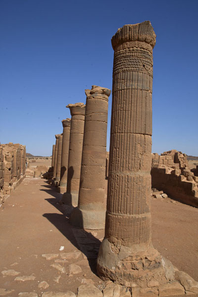 Picture of Row of decorated columns in Temple 100 inside the Great Enclosure