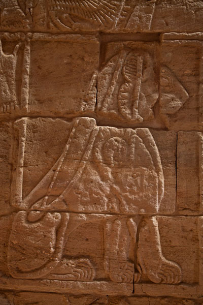 Foto van Lion depicted on a wall inside the Lion TempleMusawarat - Soedan
