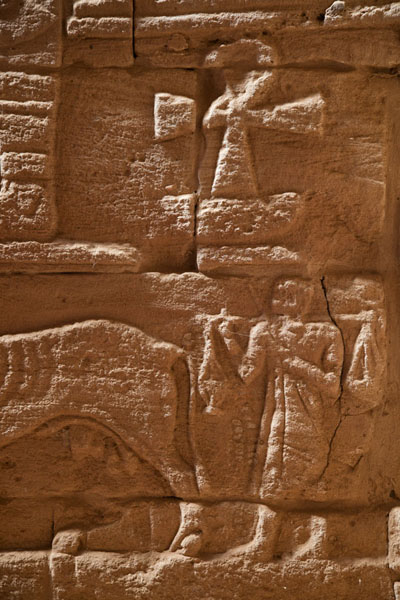 Detail of the Lion Temple with Ankh, slaves, and cattle | Musawarat es Sufra | Sudan