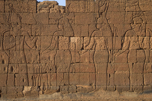 Wall of the Lion temple with gods, kings, and animals | Naqa | Sudan