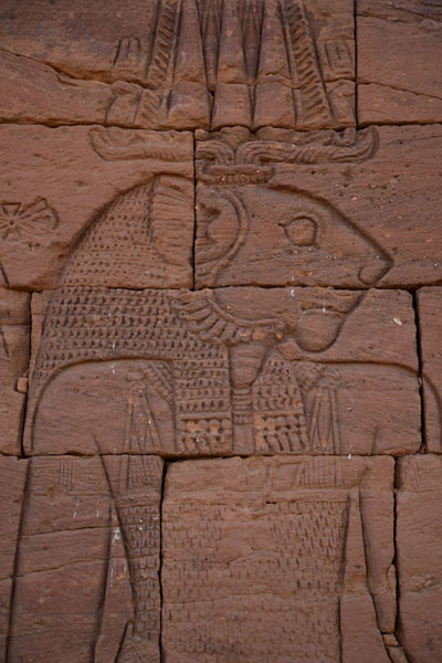 Apedemak with its lion head on a wall of the Lion Temple | Naqa | Sudan