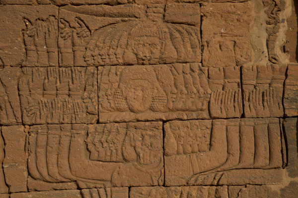 Five-headed god sculpted out at the wall of the Lion Temple at Naqa | Naqa | Sudan