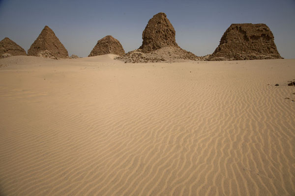 Row of pyramids at Nuri with desert | Nuri pyramids | Sudan