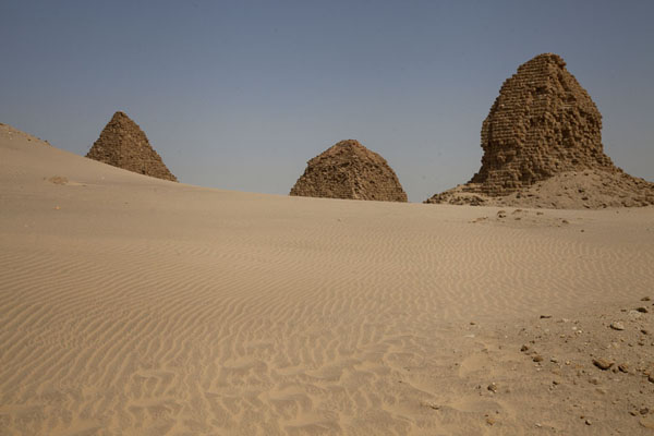 Picture of Nuri pyramids (Sudan): Three pyramids rising from the desert sand