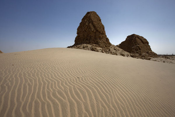 Picture of Two of the pyramids rising above the desert sand - Sudan - Africa