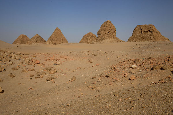 Picture of Nuri pyramids (Sudan): Row of pyramids at Nuri in the afternoon