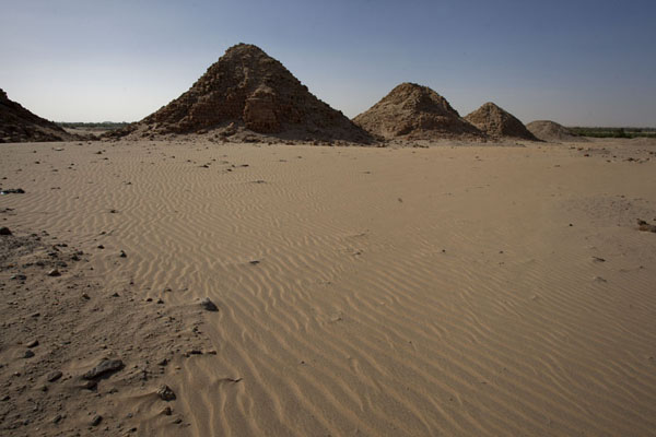 Picture of Nuri pyramids (Sudan): Desert landscape with pyramids at Nuri