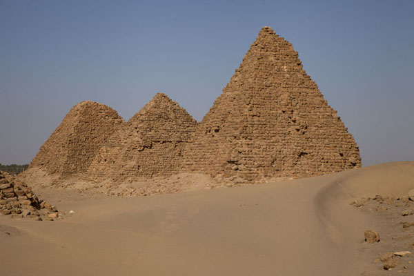 Picture of Nuri pyramids (Sudan): Row of pyramids with sand forming around them at Nuri