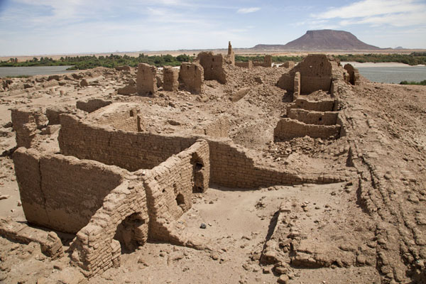 Picture of Sai Island (Sudan): Ruins of the Ottoman fort, with Jebel Abri and the River Nile in the distance