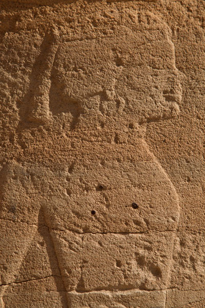 Close-up of a queen carved out of one of the columns of the temple of Soleb | Soleb | Soudan