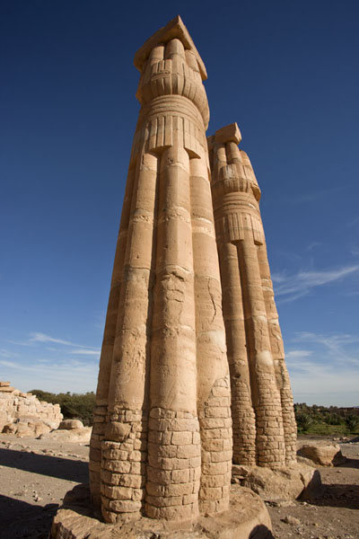 Two of the giant columns that once sustained the temple of Soleb | Soleb | Sudan