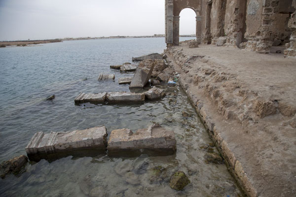 Picture of These pillars once supported the seaside portal of this house, but now lie in the Red Sea