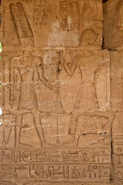 Picture of Sudan National Museum (Sudan): Wall of temple of Buhen covered in hieroglyphs and figures carved out of stone