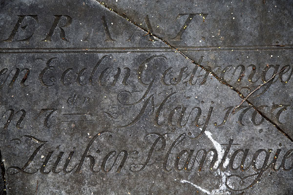 Detail of commemoration stone of Plantation Dageraad | Fortaleza Nieuw Amsterdam | Surinam