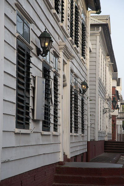 Picture of Paramaribo Architecture (Surinam): Buildings on Henck Arronstreet in the early evening