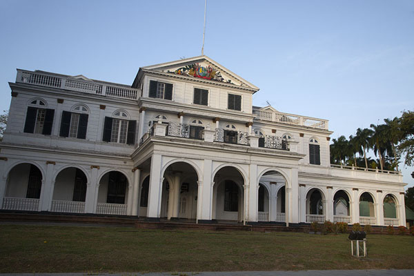 Picture of Paramaribo Architecture (Surinam): Presidential Palace at Independence Square catching the last sunrays of the day