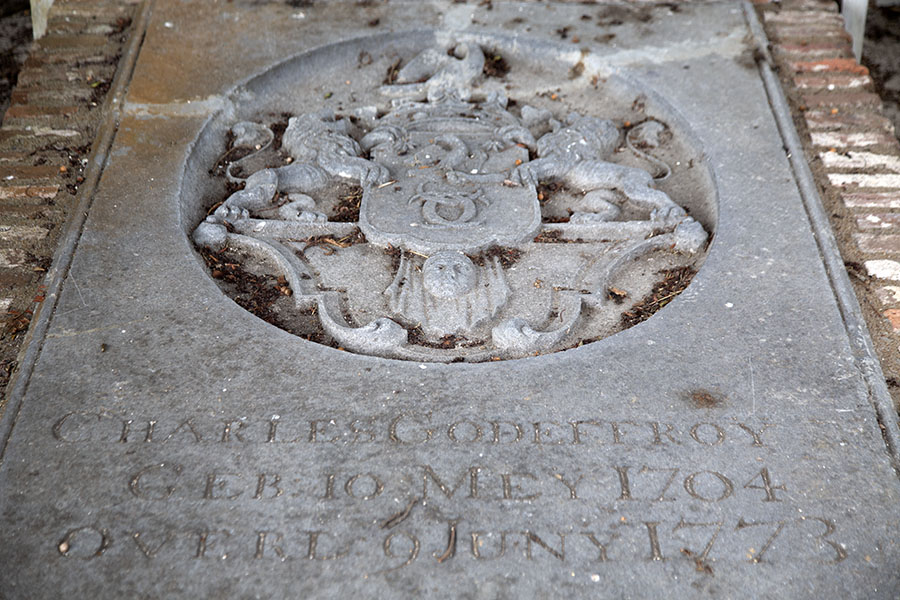 Tombstone of former German owner of the Alkmaar plantation Charles Godeffroy | Fort Nieuw Amsterdam | Suriname