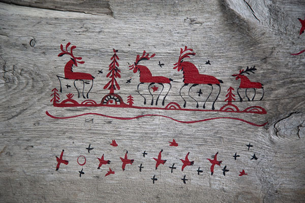 Foto van Detail of Pomor art in the museum of BarentsburgBarentsburg -