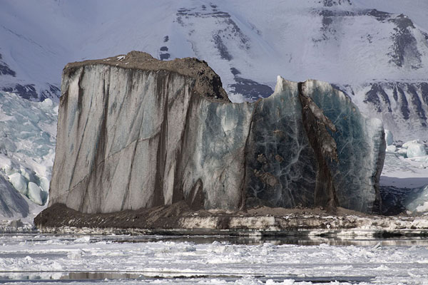 Iceberg carrying earth in Mohnbukta bay | Mohnbukta | Svalbard and Jan Mayen