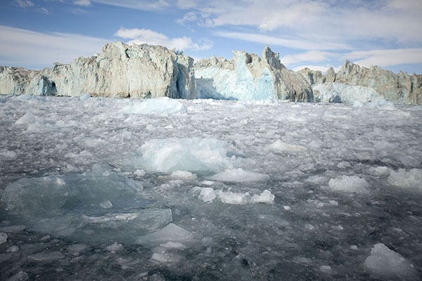 Foto di Pieces of ice floating away from Negribreen after part of the glacier wall collapsedNegribreen -