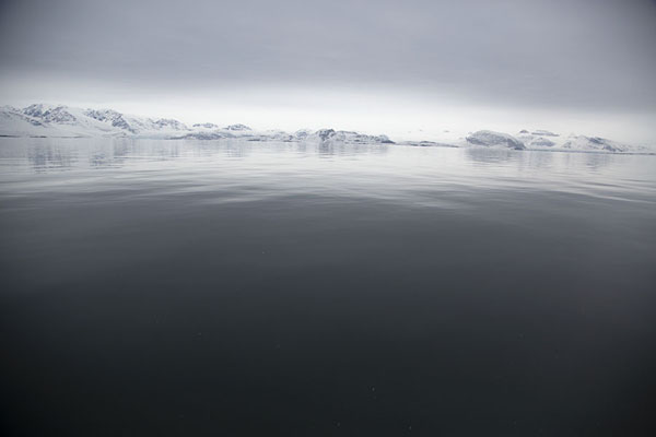 Foto van Kongsfjorden with surrounding landscape reflected in the tranquil watersNy-Ålesund -