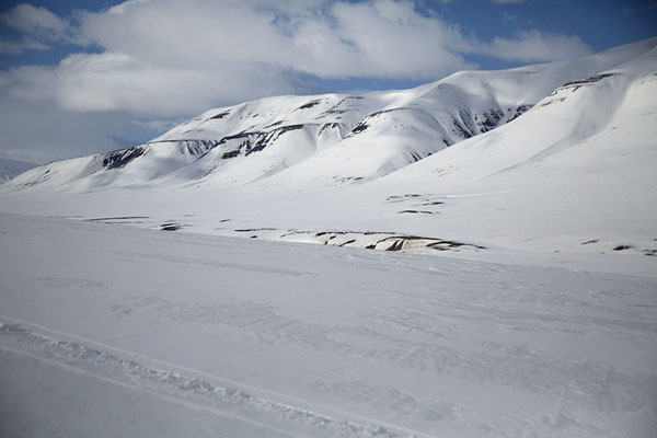 Foto di The snowy mountains in AdventdalenMotoslitta alla costa dell'este di Spitsbergen -