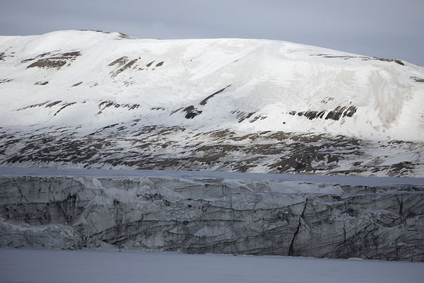 Hayesbreen glacier rising from Mohnbukta | Snowmobile to Spitsbergen East Coast | 司法勒巴和燕麦言