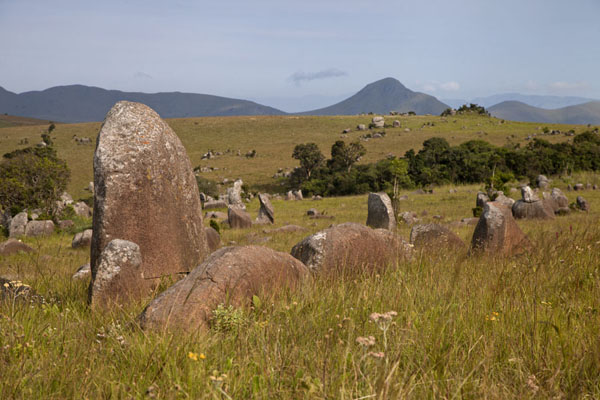 Foto van Swaziland (Landscape view with rocks and vegetation typical for Malolotja)