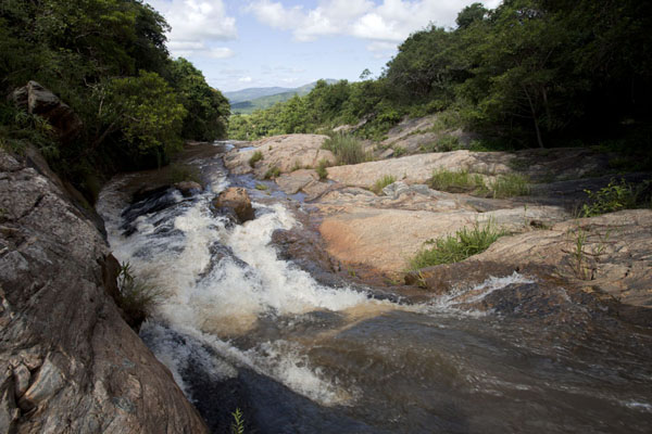 Water running down towards the top of Phophonyane falls | Chute du Phophonyane | Swaziland