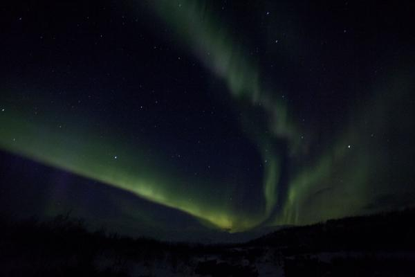 Streaks of northern light high up in the sky | Abisko Northern Lights | Sweden