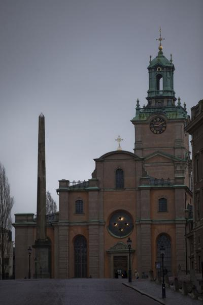 Picture of Obelisk and Cathedral at Slottsbacken in Gamla StanStockholm - Sweden