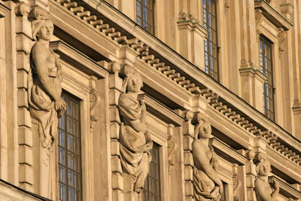 Picture of Gamla Stan (Sweden): Wall of the Royal Palace with sculptures of women
