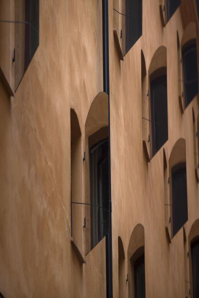 Picture of Wall of old building with mirrored window shuttersStockholm - Sweden