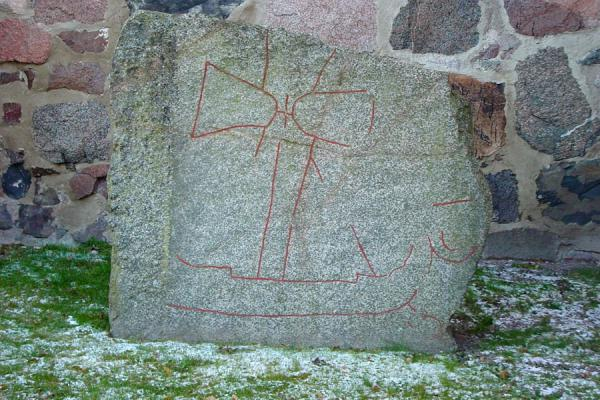 Picture of Gamla Uppsala (Sweden): Old Uppsala: Viking drawings on old runes