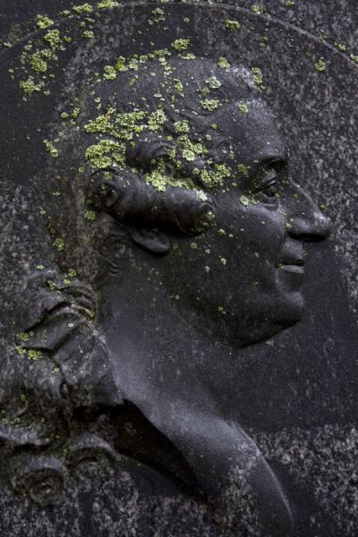 Close-up of sculptured head on tombstone | Katarina Kyrkan | Sweden