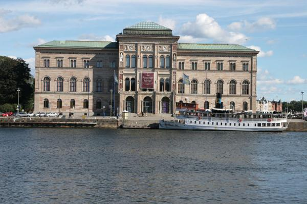 Picture of Stockholm waterfront (Sweden): View on National Museum and boat from Gamla Stan