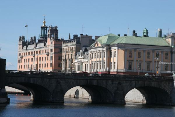 Picture of Stockholm waterfront (Sweden): Sagerska palatset and bridge