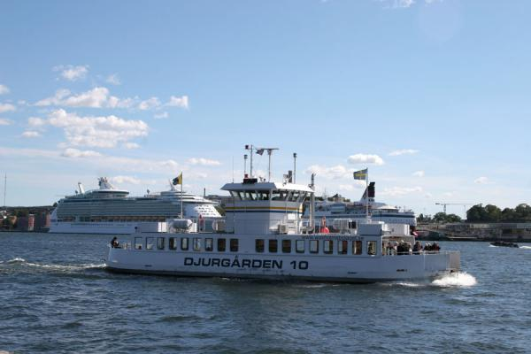 Ferry boats plying the waters around Stockholm with large cruise ships in the background | Stockholm waterfront | Sweden