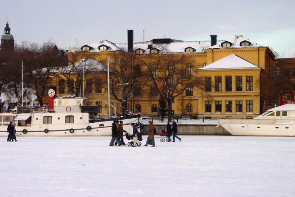 Picture of Stockholm Winter (Sweden): Walking on ice in Stockholm harbour