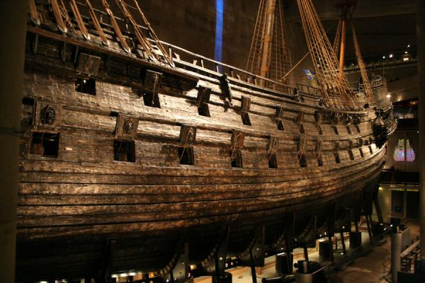 The Vasa seen from behind, gunports are open. | Vasa Museum | Sweden