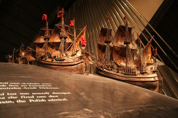 Models of ships on globe in the Vasa Museum | Vasa Museum | Sweden