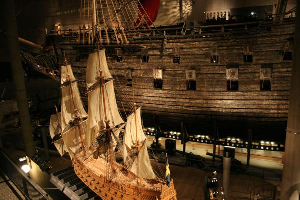 Model of the Vasa with the real ship in the background | Vasa Museum | Sweden