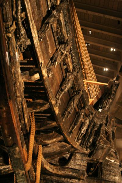 Part of the bow-sprit with clearly visible wooden sculptures | Vasa Museum | Sweden