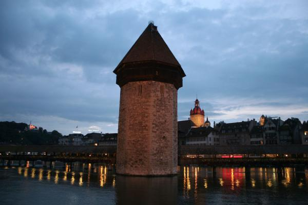 Water tower and Chapel bridge by night | Lucerne Bridges | Switzerland