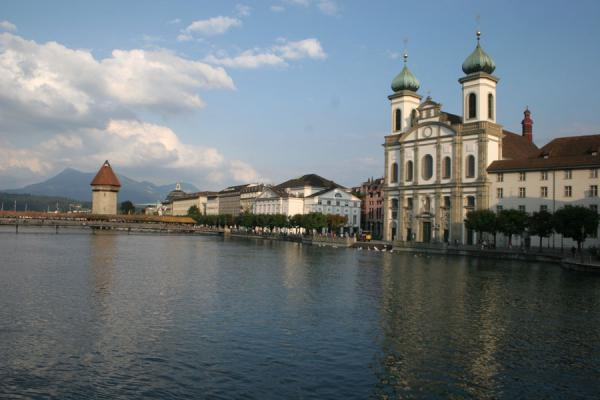 Jesuit church, Chapel bridge and watertower with the River Reuss | Lucerne Bridges | Switzerland