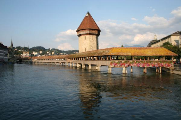 Afternoon sun on the watertower and the Chapel bridge | Lucerne Bridges | Switzerland